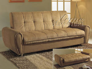Taylor Taupe Finish Microfiber Click Clack Futon Bed